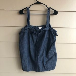J. Crew ruffle tank, pockets, adjustable straps